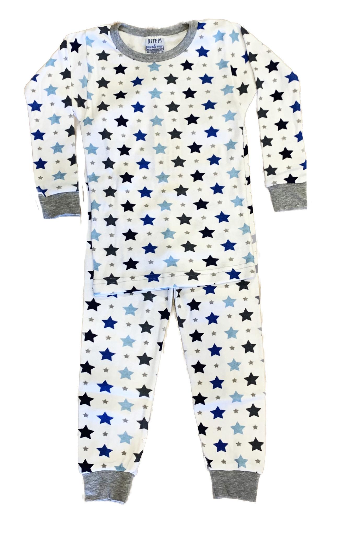 Baby Steps Blue Grey Stars Infant PJ Set