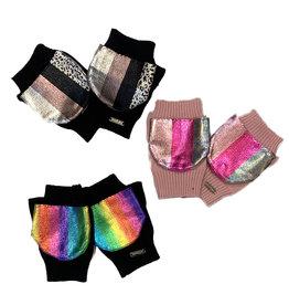 Bari Lynn Metallic Stripe Foldover Mittens - Toddler/Kids