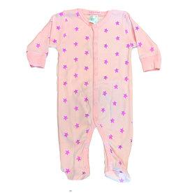 Baby Steps Pink Foil Stars Footie
