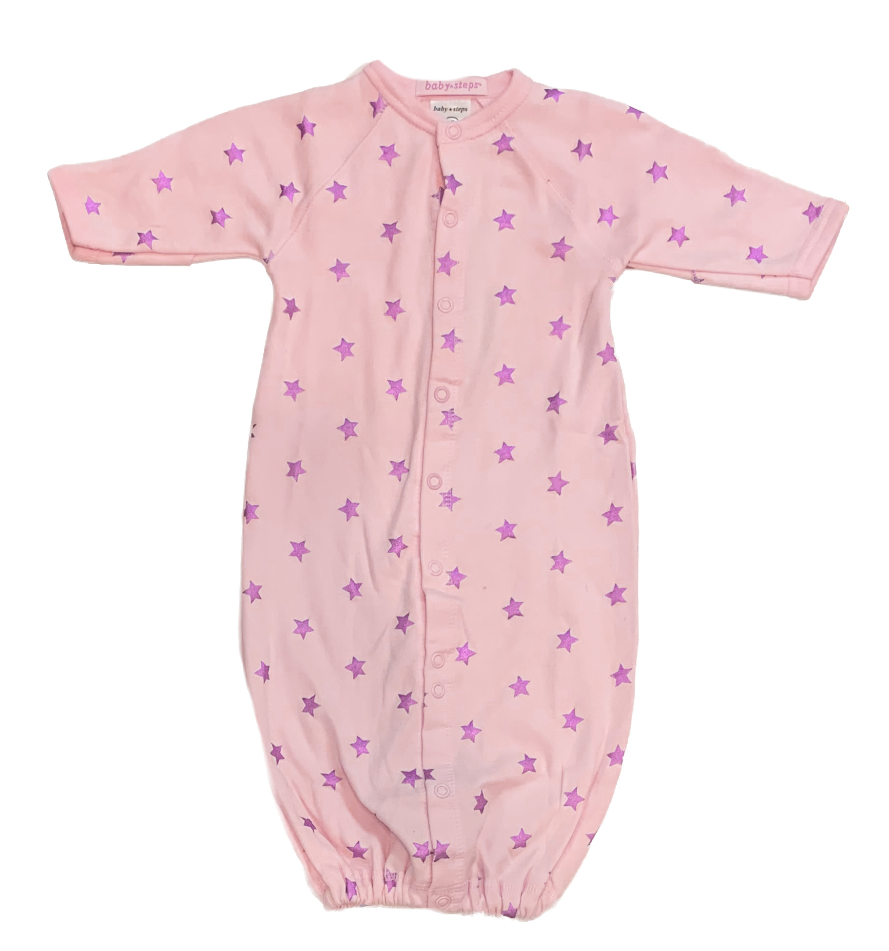 Baby Steps Pink Foil Stars Converter Gown