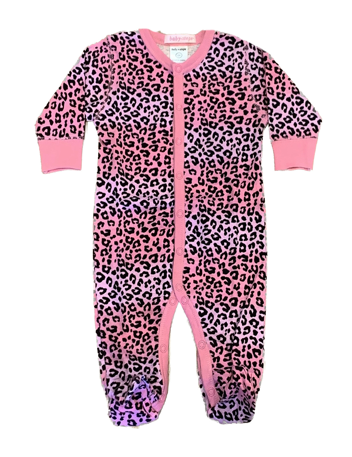 Baby Steps Pink/Lilac Ombre Cheetah Footie