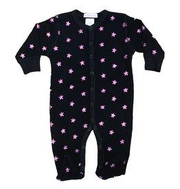 Baby Steps Black Foil Stars Footie