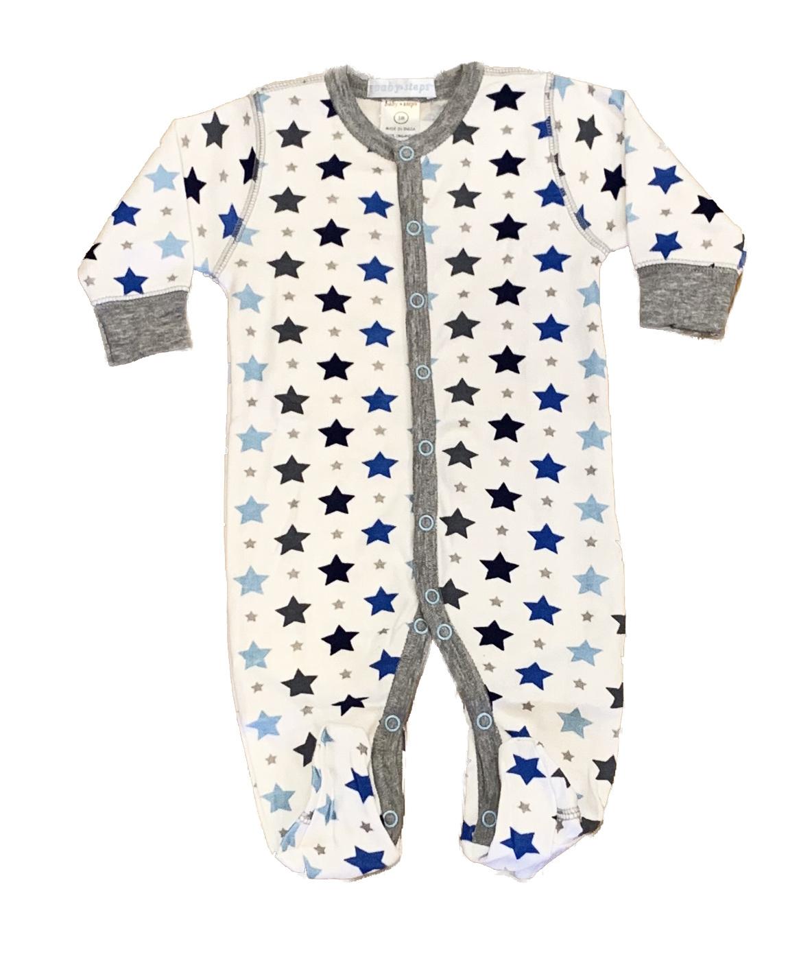 Baby Steps Grey/Blue Stars Footie