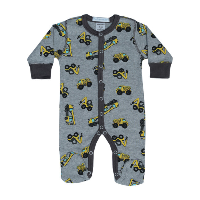 Baby Steps Gray Construction Footie