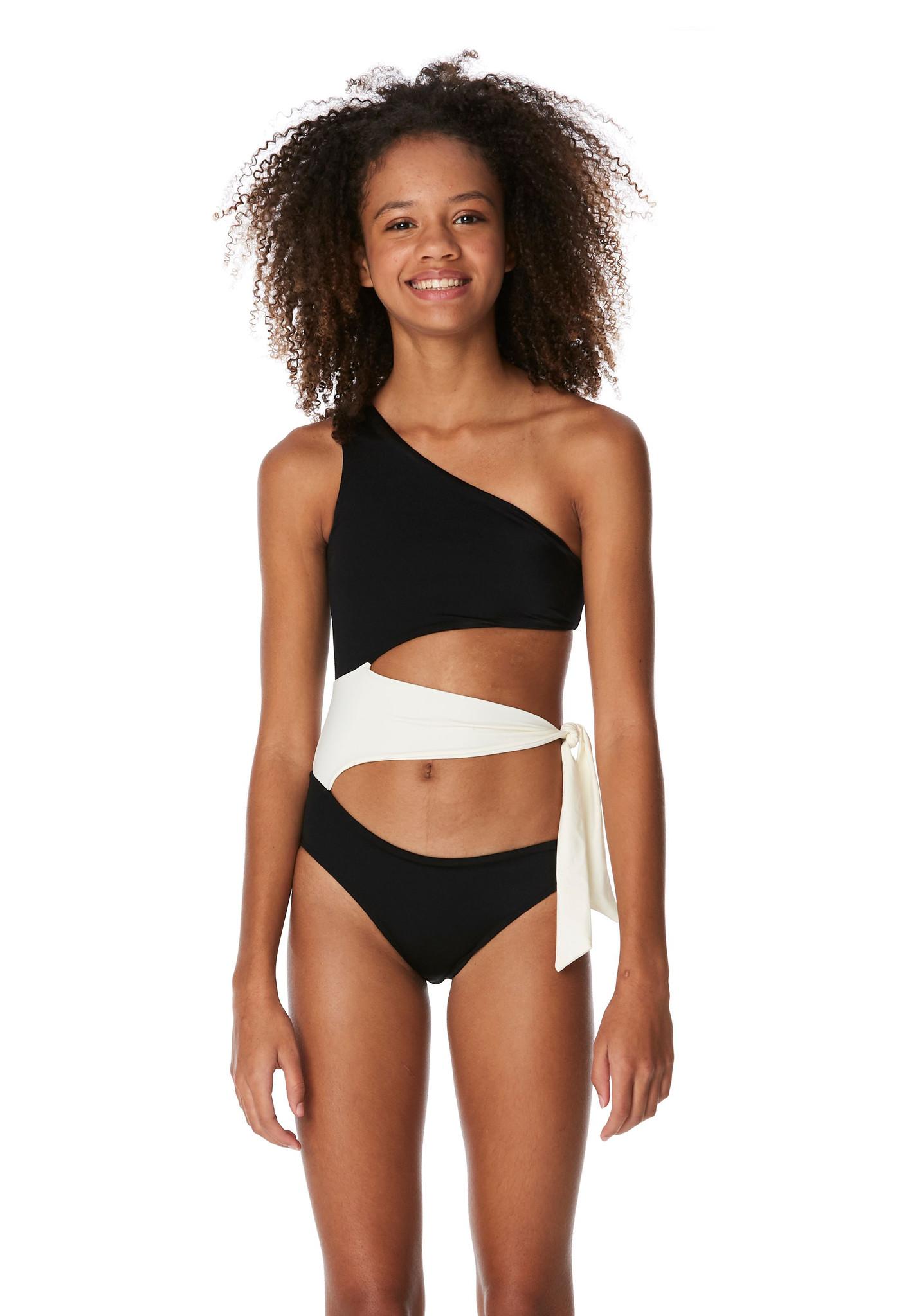 Submarine Blk/Cream Side Tie 1 pc Swimsuit
