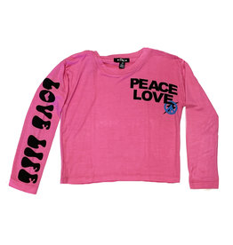 Flowers by Zoe Pink Peace/Love LS Tee