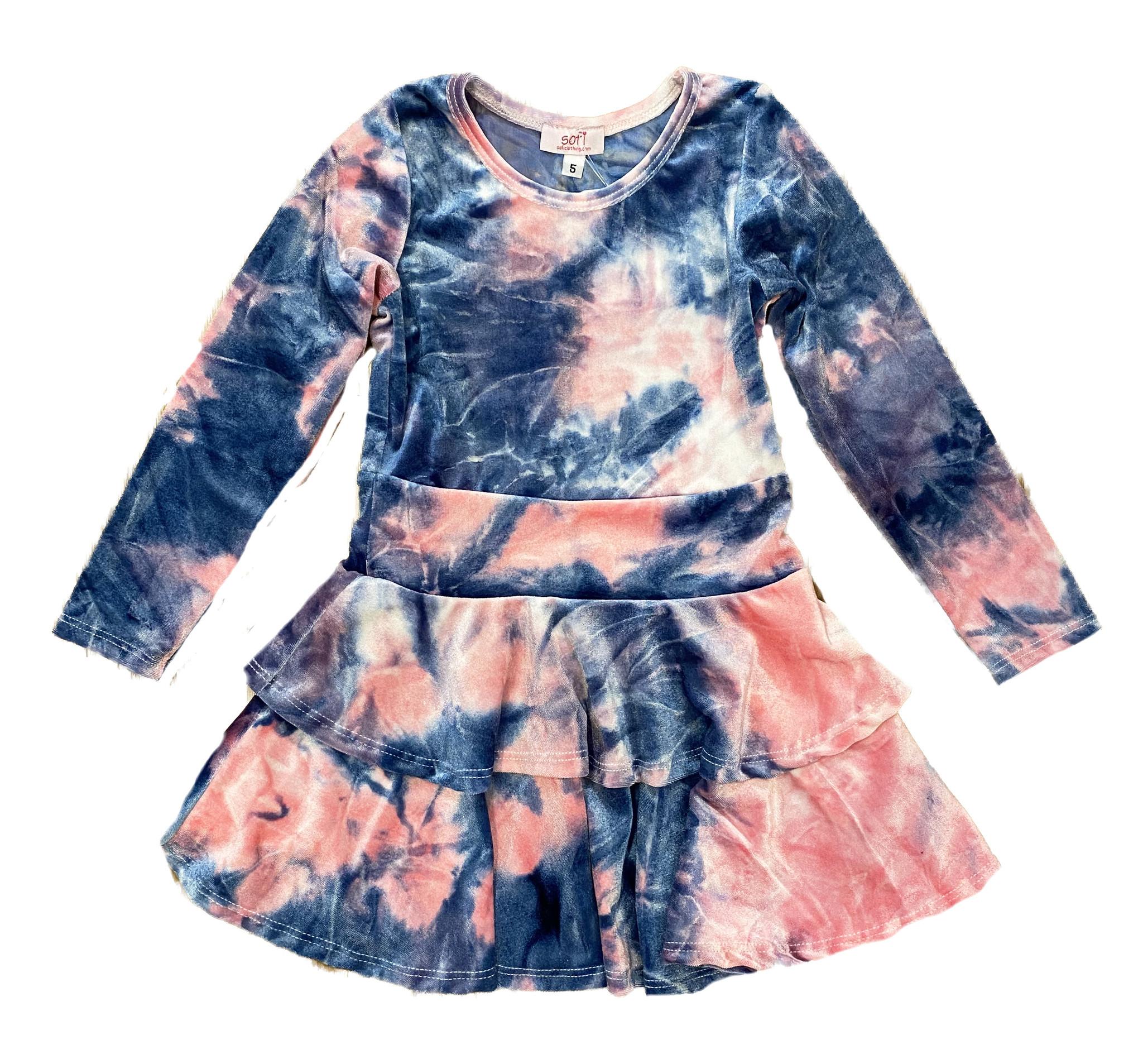 Sofi Pink/Blue TD Velvet 2 Tier Dress