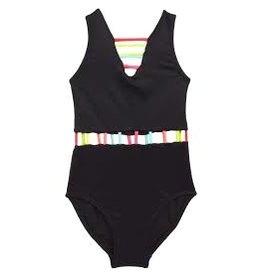Peixoto Black Neon Trim 1Pc Swimsuit