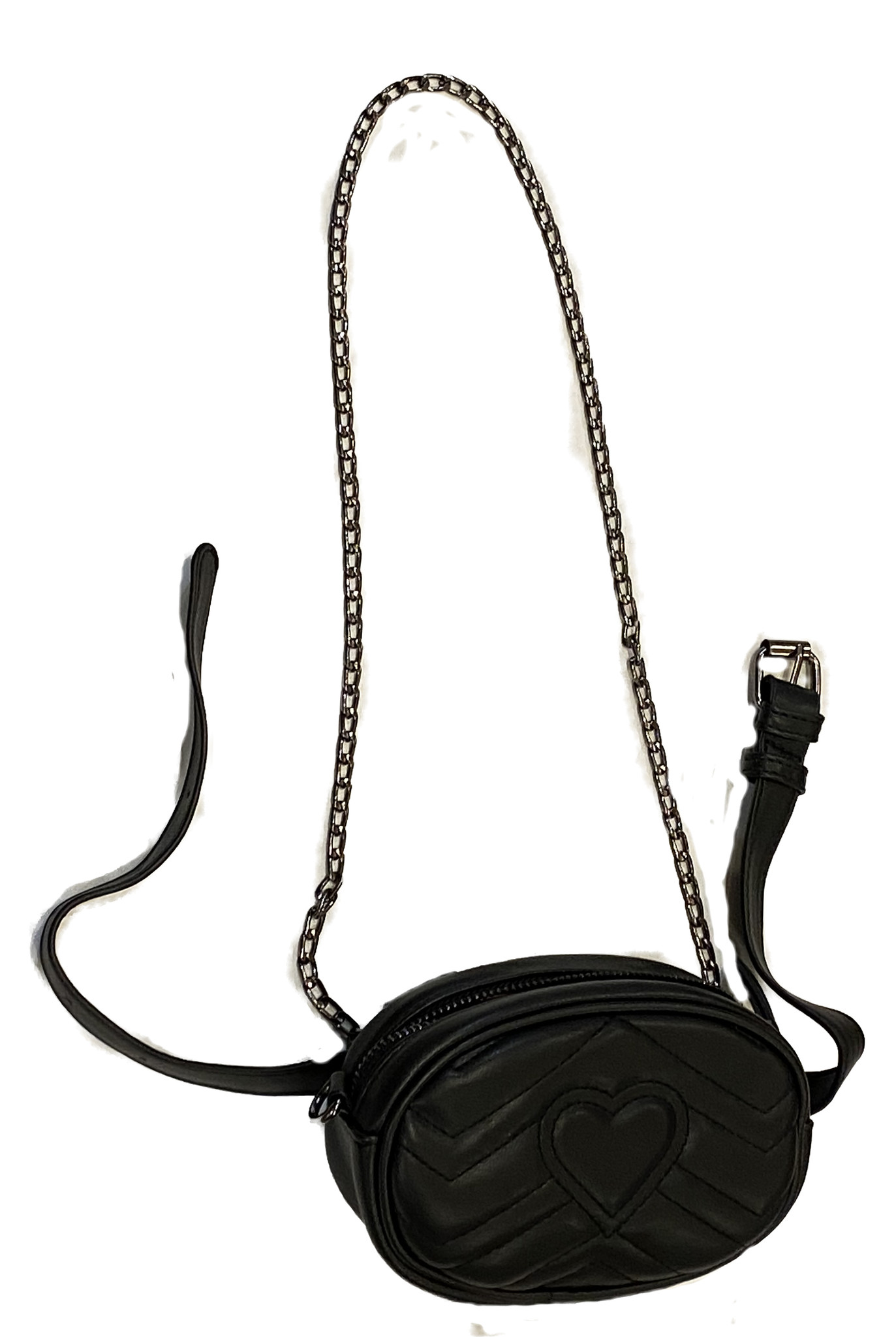 Heart Quilted Belt/Crossbody Bag Purse