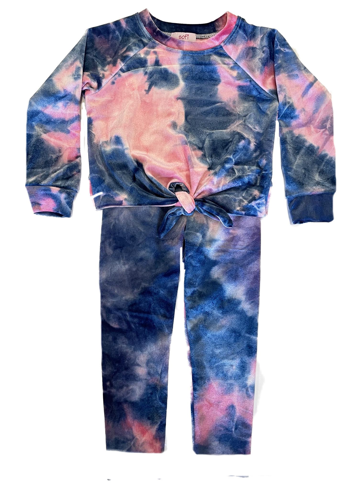 Sofi Pink/Blue TD Velvet Infant Legging Set