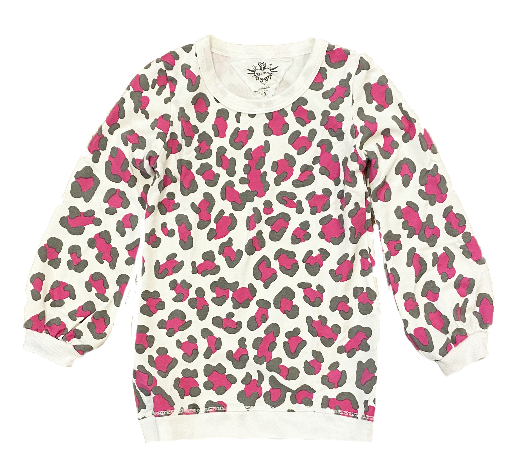 T2Love Pink/Grey Leopard Puffy Sleeve Top