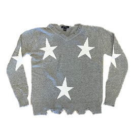 Flowers by Zoe Grey Wht Star Ripped  Sweater