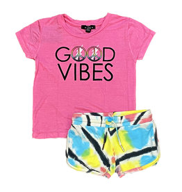 Flowers by Zoe Pink Good Vibes TD Tod Shorts Set