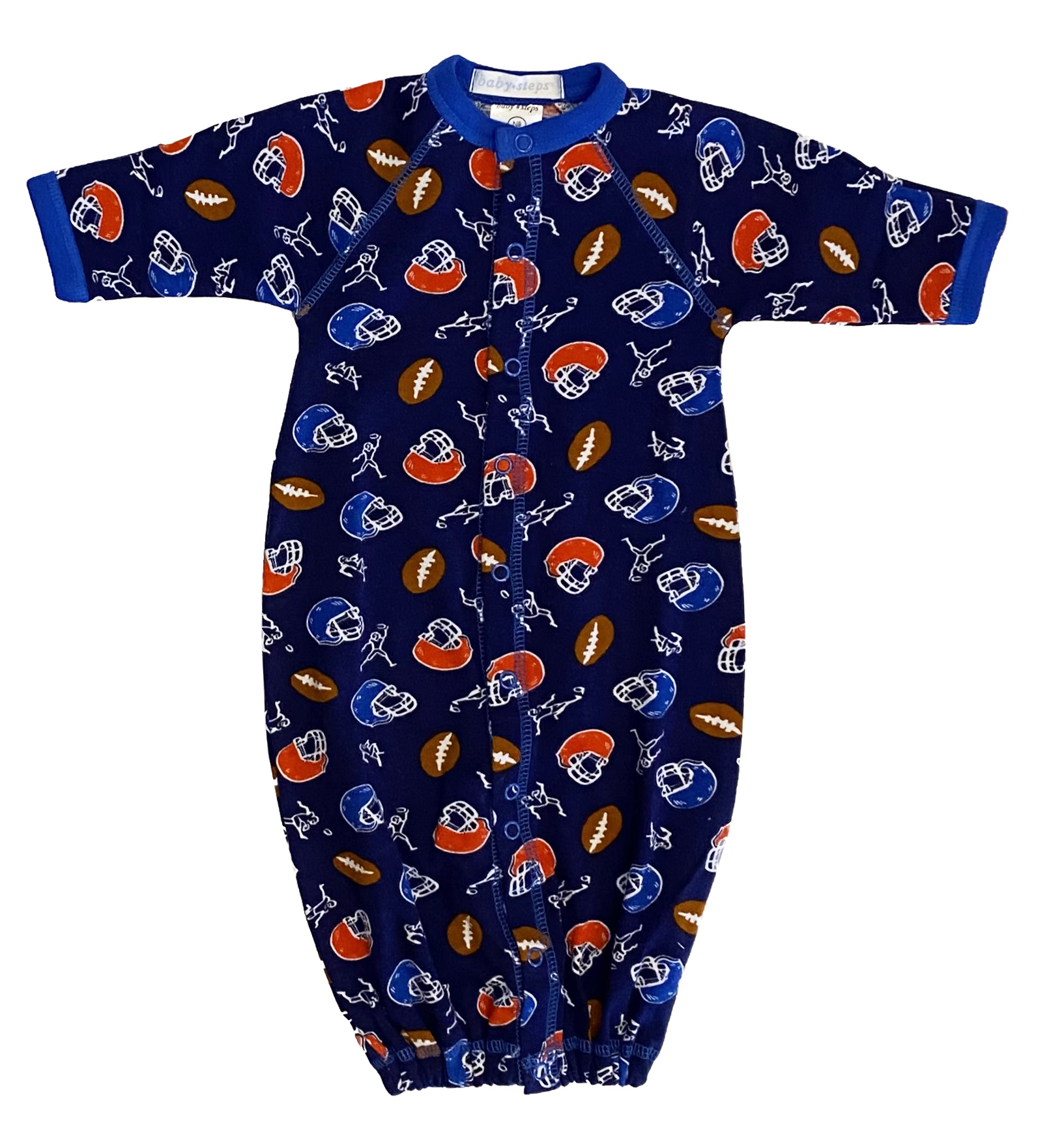 Baby Steps Navy Football NB Converter Gown