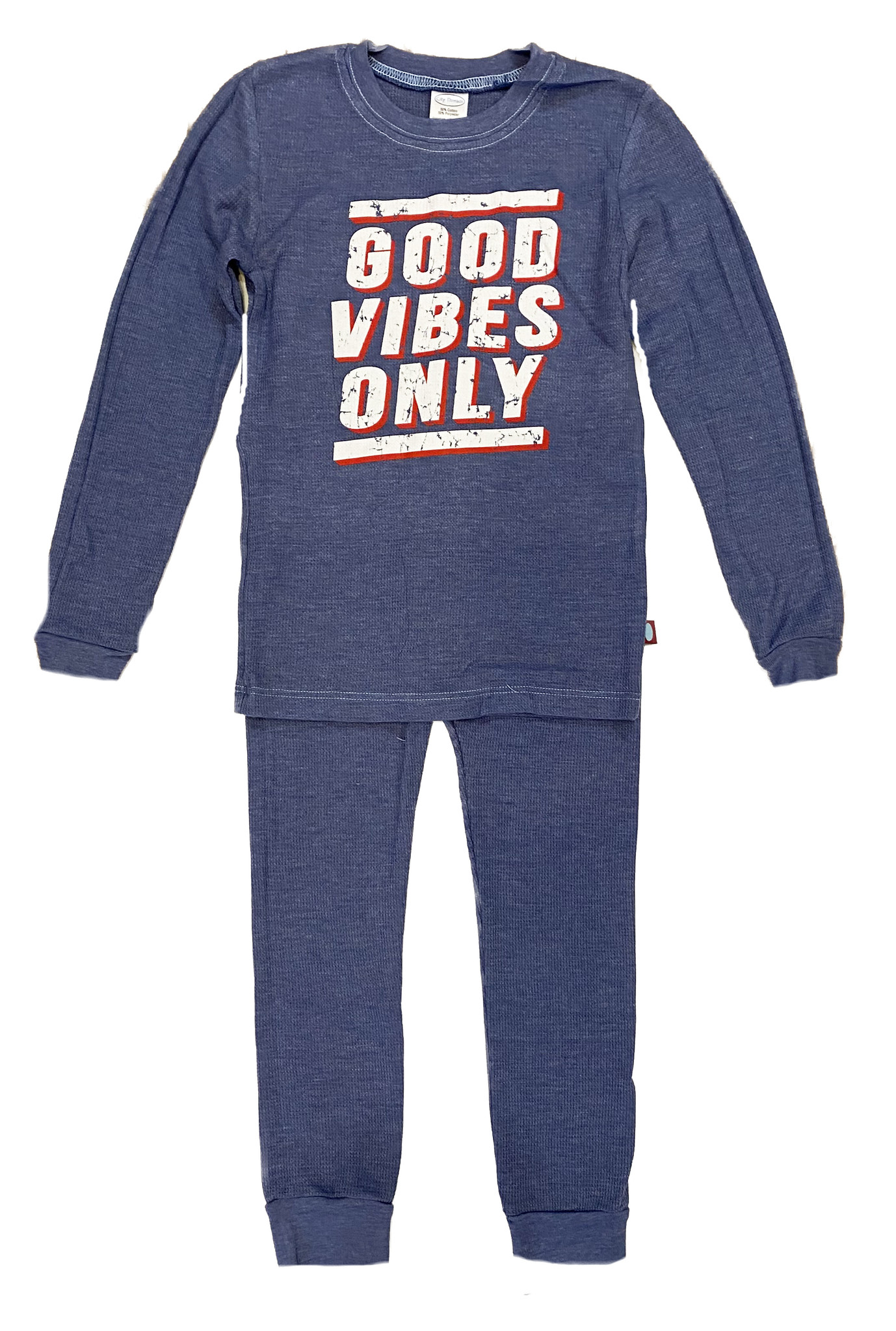 Good Vibes Blue Thermal PJ Set