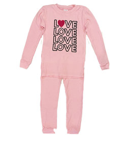 Love Heart Lt Pink Thermal PJ Set