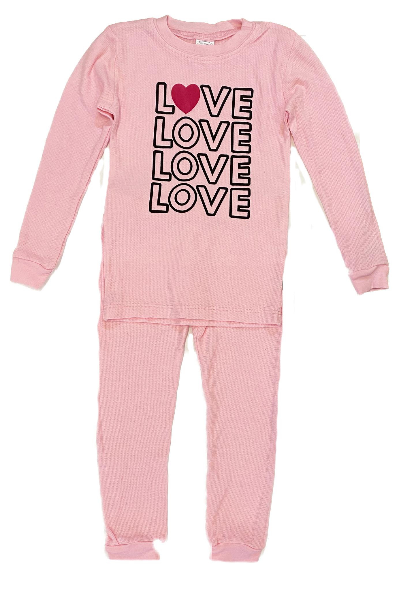 Love Heart Lt Pink Thermal PJ Set
