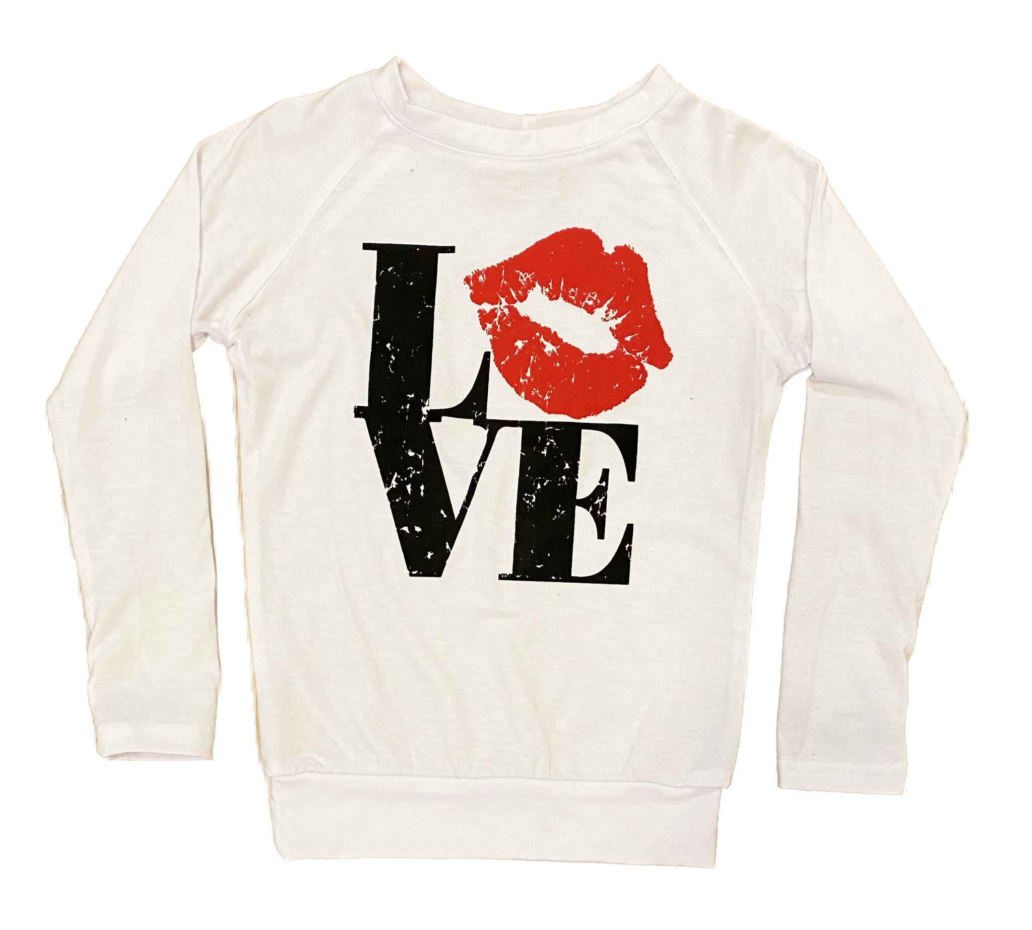 Love with Lips Raglan LS Tee