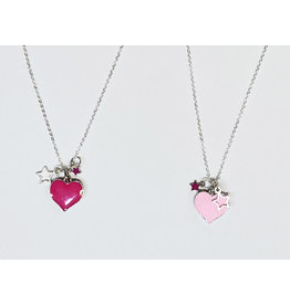 Pink Enamel Heart Necklace - 2 Colors