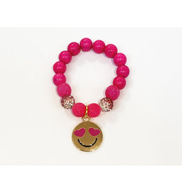 Smiley Gold/Pink Bead Bracelet