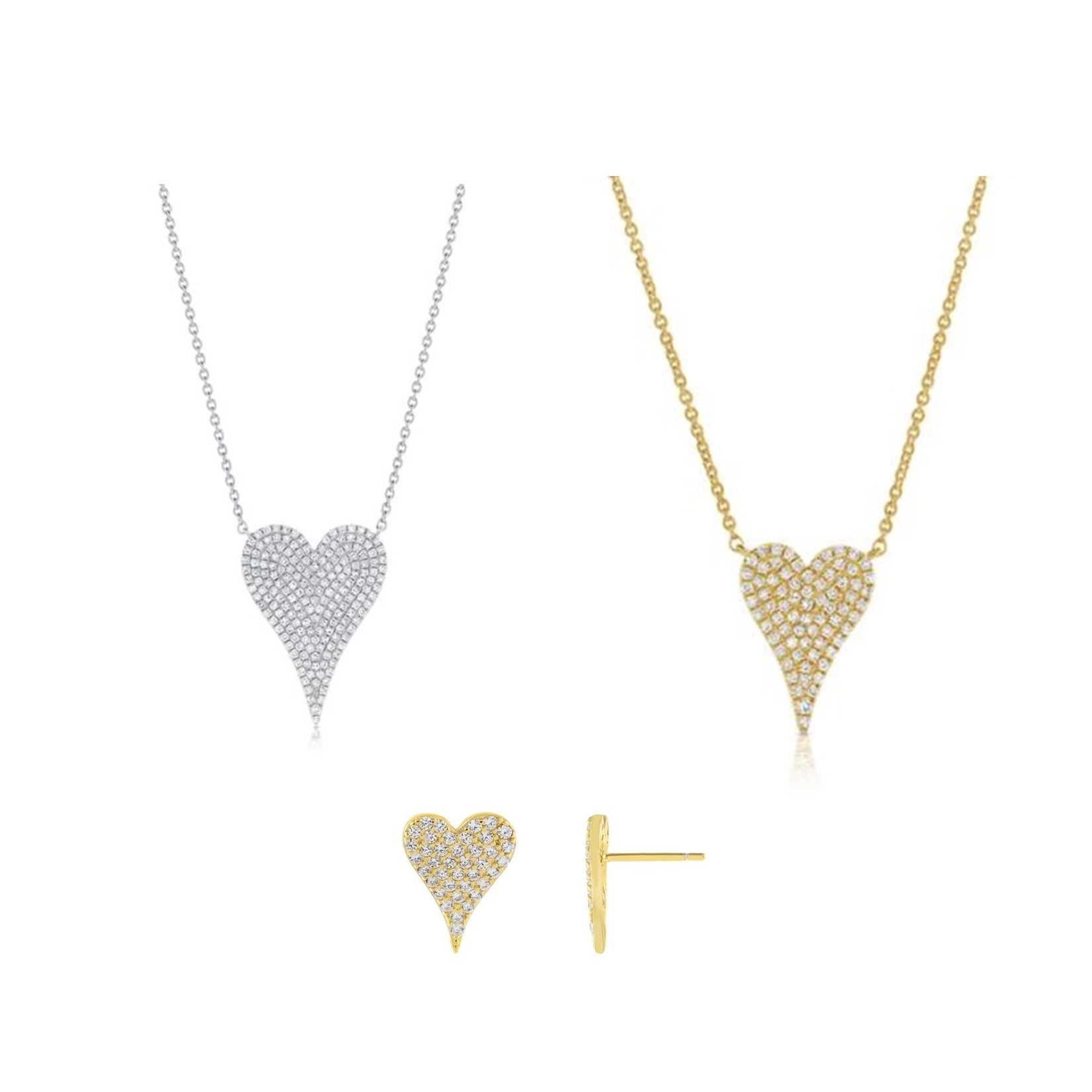 Pave CZ Elongated Heart Jewelry Collection