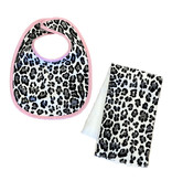 Grey/Blk Leopard Infant Bib or Burp Cloth