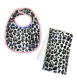 Grey/Blk Leopard Infant Bib or Burp Cloth