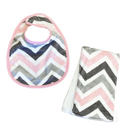 Pink/Grey Chevron Infant Bib or Burp Cloth