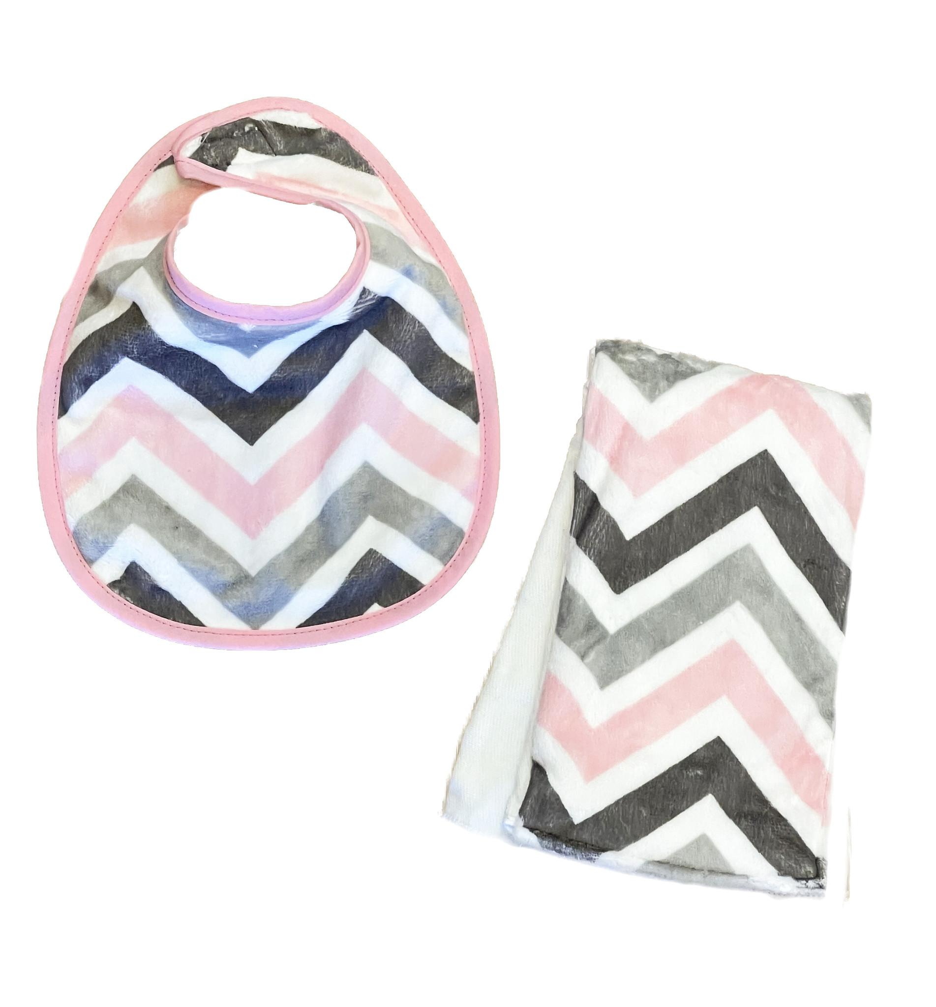 Pink/Grey Chevron Infant Bib or Burp Cloth