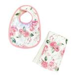 Pink Roses Infant Bib or Burp Cloth