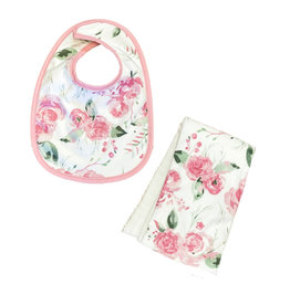 Pink Roses Infant Bib or Burp Cloth