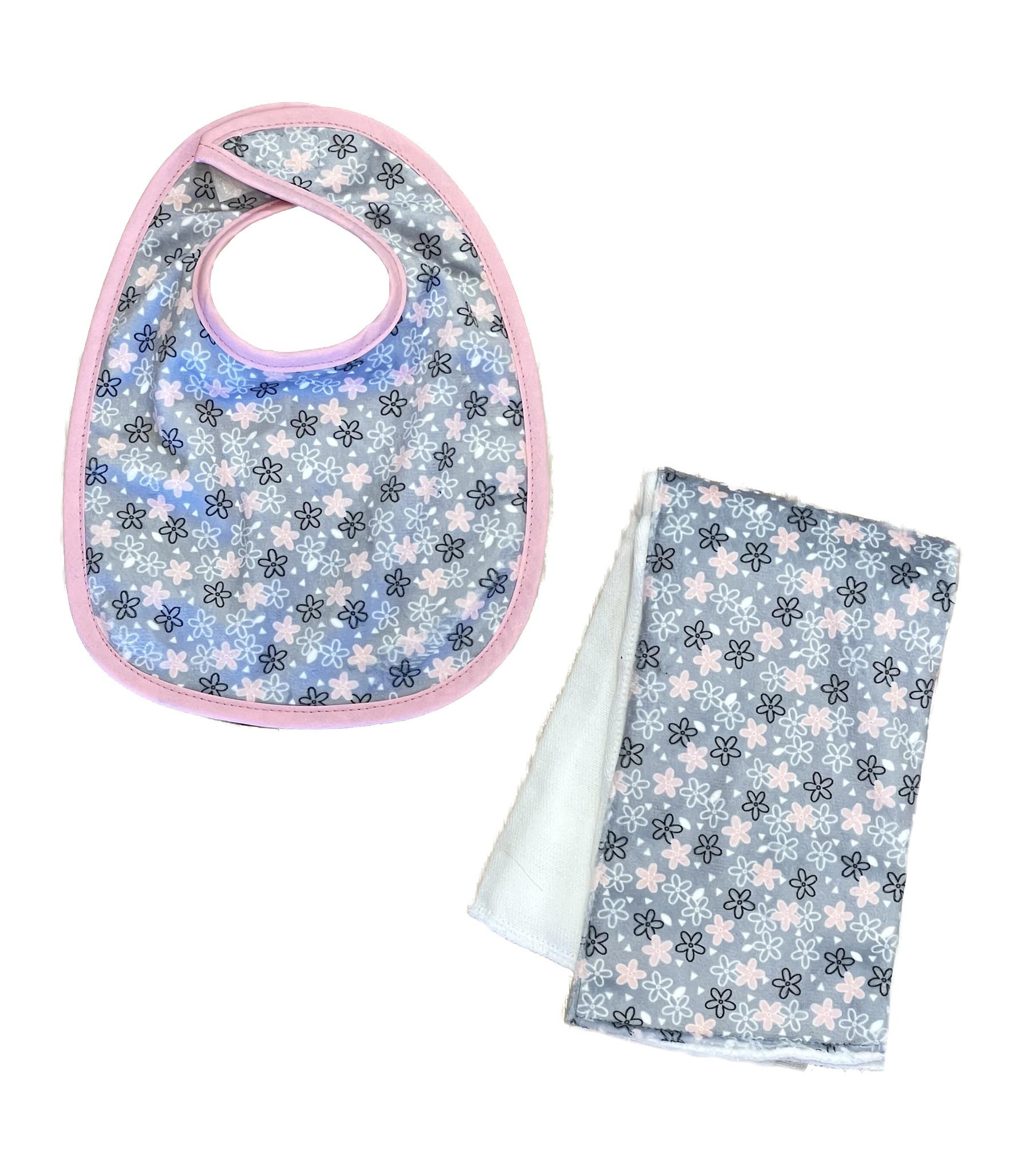 Sweet Flowers Infant Bib or Burp Cloth