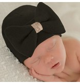 Ily Bean Black/Gold Bow Newborn Hat