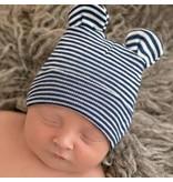 Ily Bean Navy Striped Bear Newborn Hat