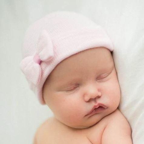 Ily Bean Pink Mini Bow Newborn Hat