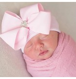 Ily Bean Pink Stripe Fancy Bow Newborn Hat