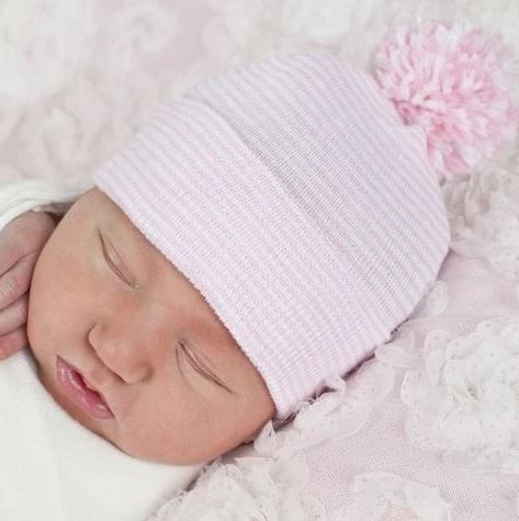 Ily Bean Pink Stripe Pom Newborn Hat