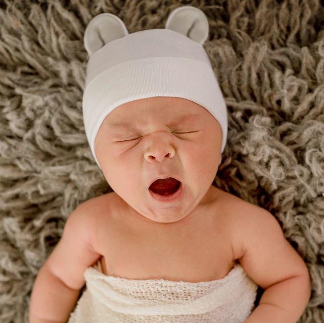 Ily Bean Gray Bear Ears Newborn Hat