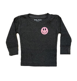Small Change Pink Smile on Grey Thermal Top