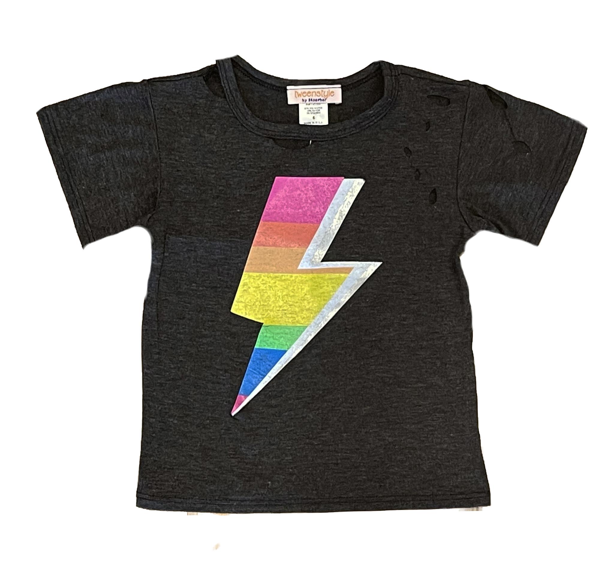 Tweenstyle Charcoal Tee w/Rainbow Bolt