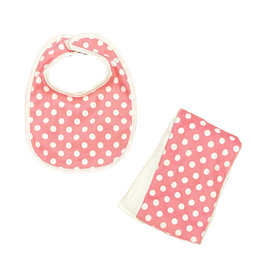 Pink Polka Dot Bib or Burp Cloth Burp Cloth