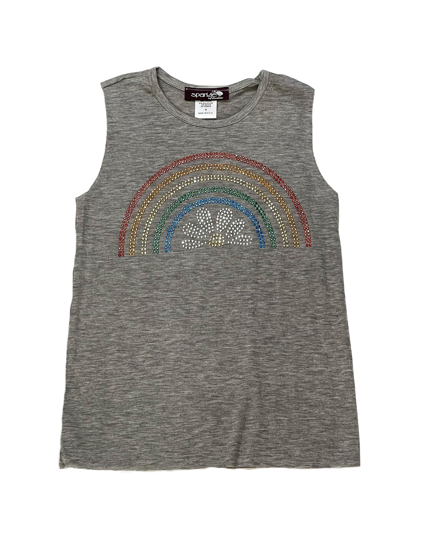 Sparkle Flower Rainbow Applique Tank