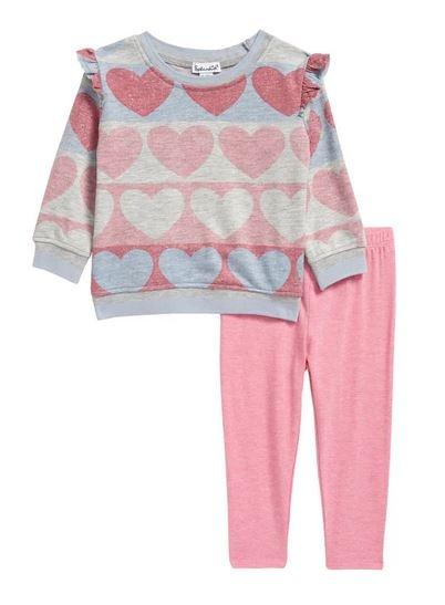 Splendid Heather Pink Hearts Legging Set