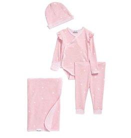 Splendid Heather Pink Hearts 4 pc Layette Set
