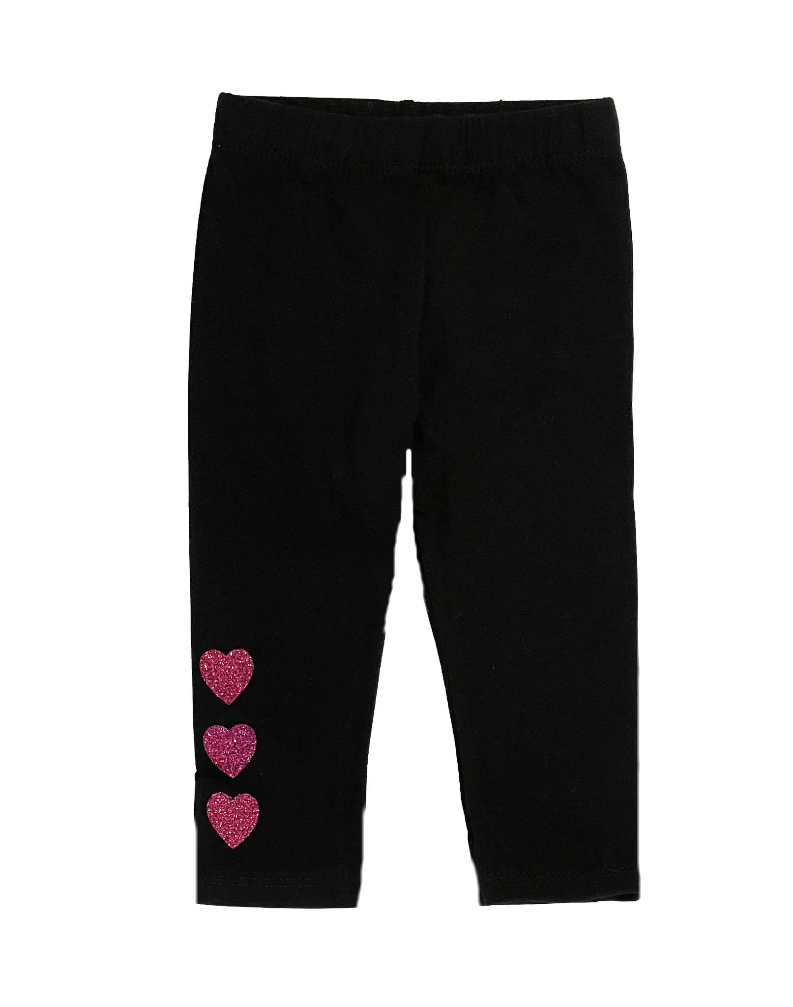 Small Change Pink Glitter Triple Heart Leggings
