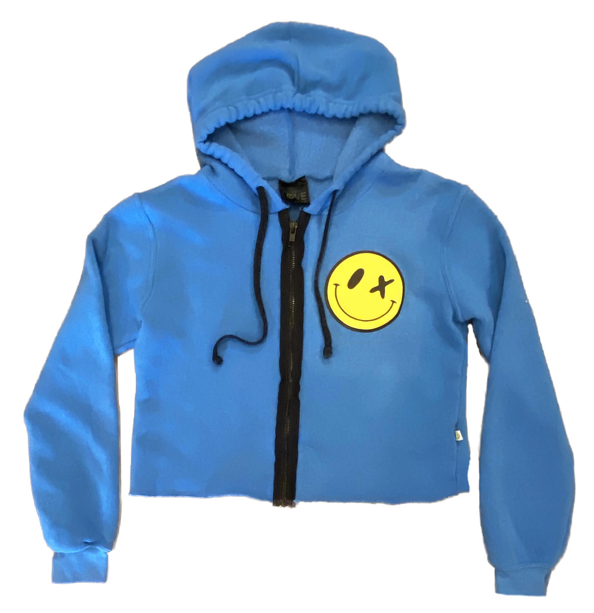 Love Junkie Puffy Smile Blue Zip Hoodie