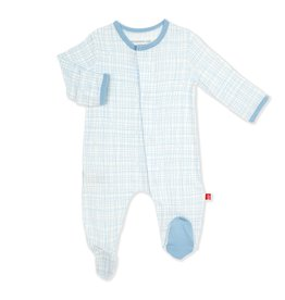 Magnetic Me Blue Mini Plaid Footie