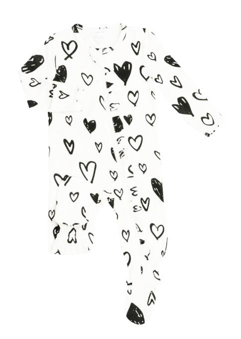 Angel Dear Black Hearts Ruffled Footie