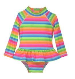 Flap Happy Neon Striped Infant Ruffle Rashguard Swimsuit