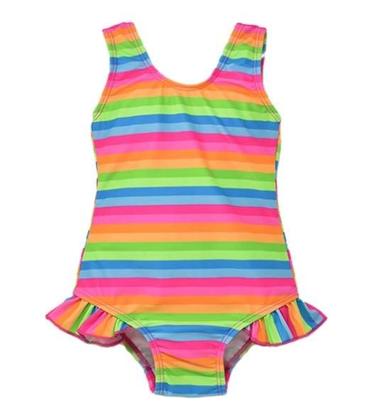 Flap Happy Neon Striped Swimsuit